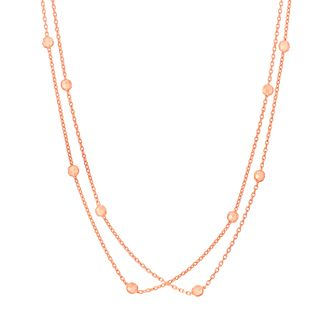9ct Rose Gold Beaded Station Necklace - Product number 6139930