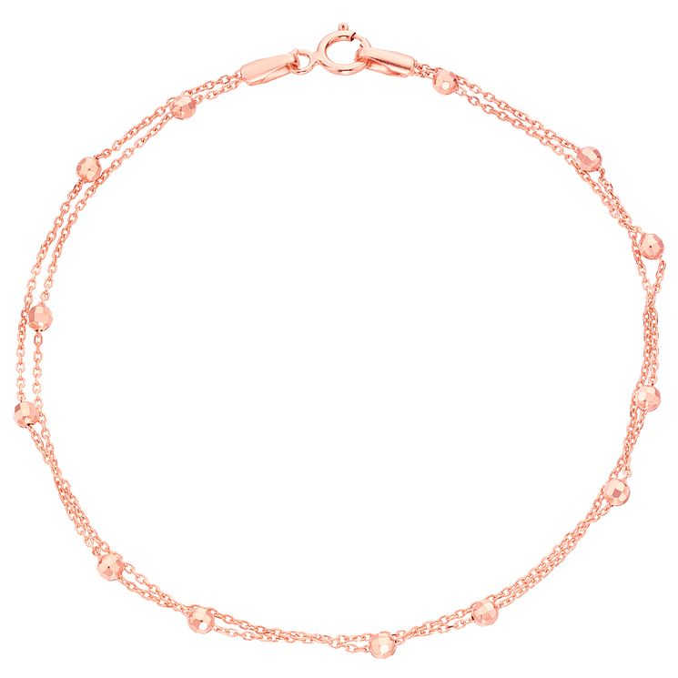 9ct Rose Gold Beaded Station Bracelet - Product number 6139957