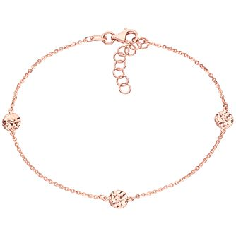 9ct Rose Gold Large Diamond Cut Disc Station Bracelet - Product number 6139965