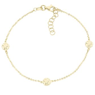 9ct Gold Diamond Cut Disc Station Bracelet - Product number 6139981
