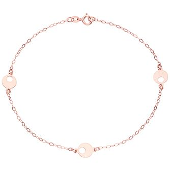 9ct Rose Gold Circle Station Bracelet - Product number 6140017