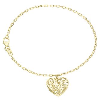 9ct Gold 3D Cut Out Heart Charm Bracelet - Product number 6140408