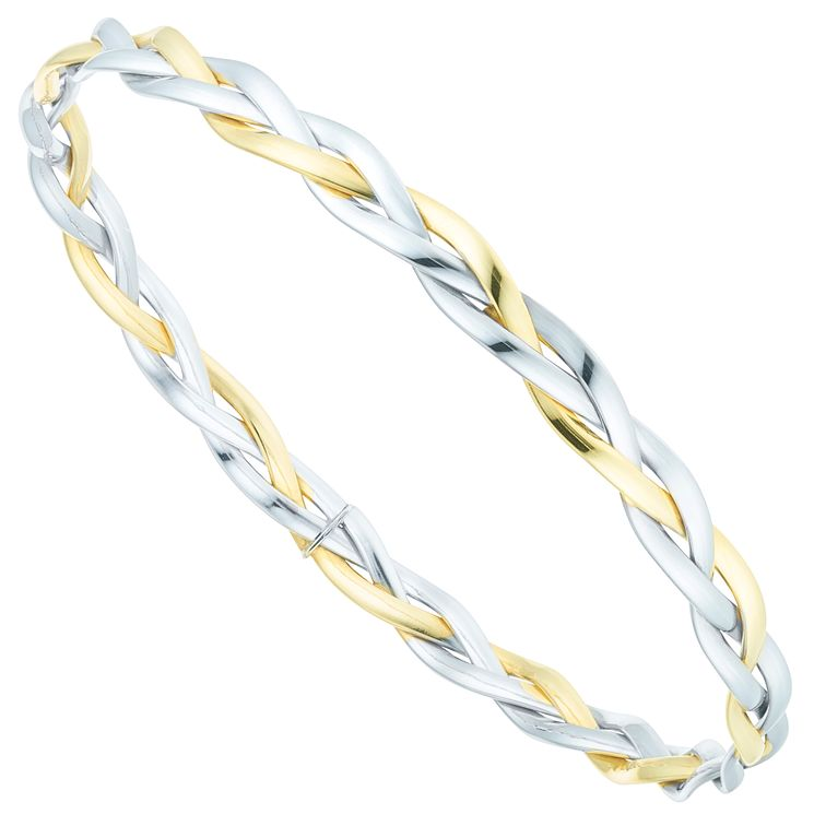 9ct Gold 2 Colour Plait Design Bangle - Product number 6140432