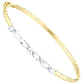 9ct Gold 2 Colour Cubic Zirconia Set Figure Of 8 Bangle - Product number 6140505