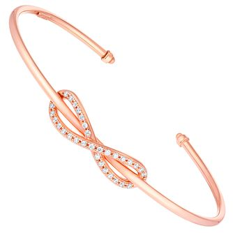 9ct Rose Gold Cubic Zirconia Set Figure Of 8 Bangle - Product number 6140513