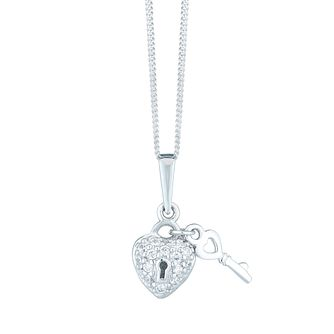 Sterling Silver Cubic Zirconia Set Padlock & Key Pendant - Product number 6140629