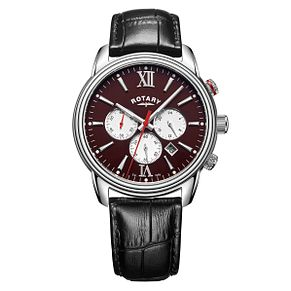 Rotary Monaco Men's Black Leather Strap Watch - Product number 6144586