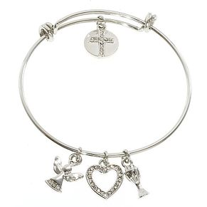 Cailin Stainless Steel Chalice & Charms Expander Bangle - Product number 6146996