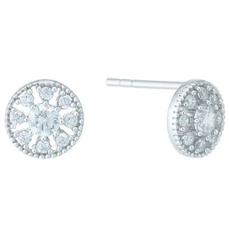 Sterling Silver Cubic Zirconia Circle Stud Earrings - Product number 6147216