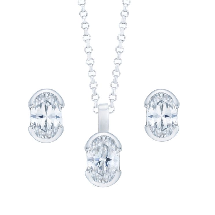 Sterling Silver Cubic Zirconia Earring & Necklace Set - Product number 6148530