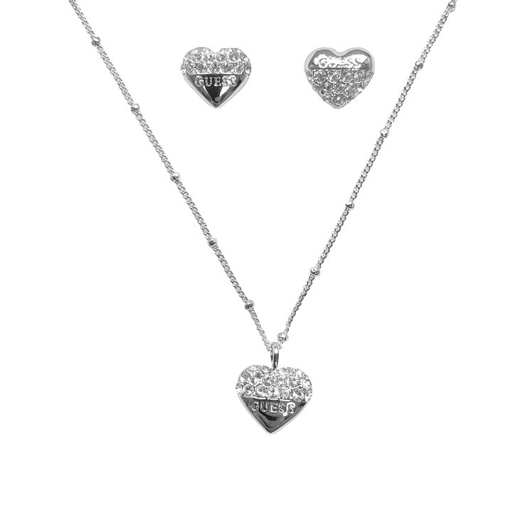 Guess Rhodium Plated Heart Earring & Pendant Set - Product number 6150861