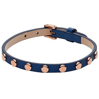 Fossil Blue Leather Rose Gold Tone Studded Bracelet - Product number 6154638