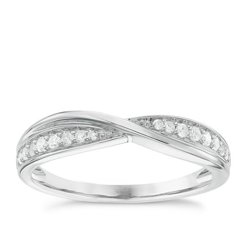 9ct White Gold 0.15ct Diamond Crossover Wedding Band - Product number 6155774
