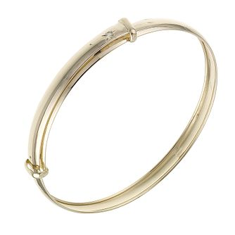 9ct gold expandable diamond child's bangle - Product number 6157343