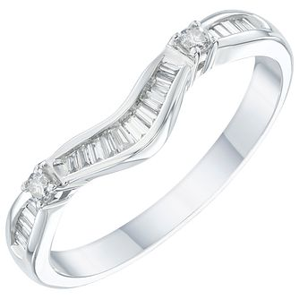 18ct White Gold 0.18ct Diamond Shaped Wedding Band - Product number 6162509
