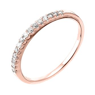 9ct Rose Gold 15 Point Diamond Wedding Band   Product Number 6165370