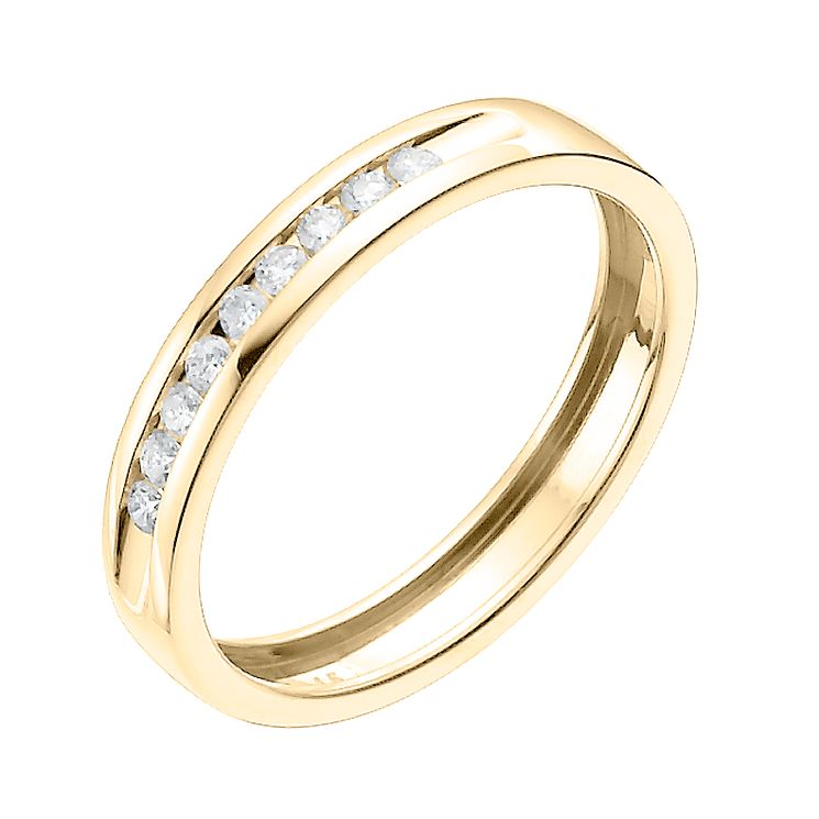 9ct Yellow Gold 15 Point Channel Set Wedding Band - Product number 6168825