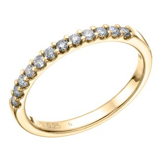 9ct Yellow Gold 0.25ct Diamond Claw Set Wedding Band - Product number 6169090