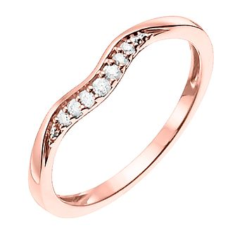 9ct Rose Gold Shaped Diamond Wedding Band - Product number 6169368
