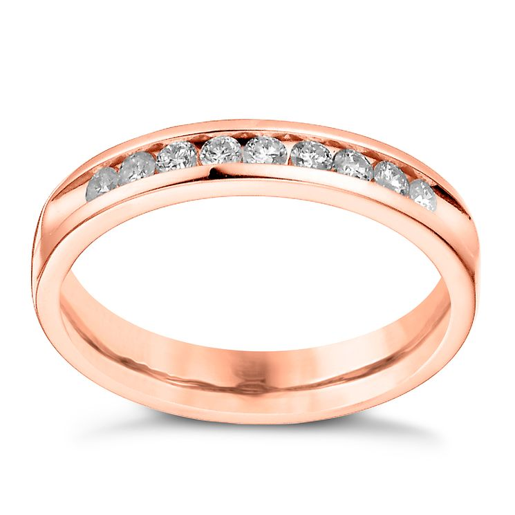 18ct Rose Gold 0.25ct Diamond Channel Set Wedding Band - Product number 6170013