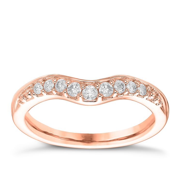 18ct Rose Gold 0.15ct Diamond Shaped Wedding Band - Product number 6170951