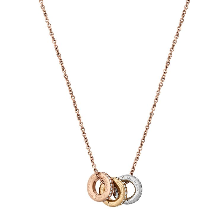 heart i michael pendant gold necklace crystal tone kors