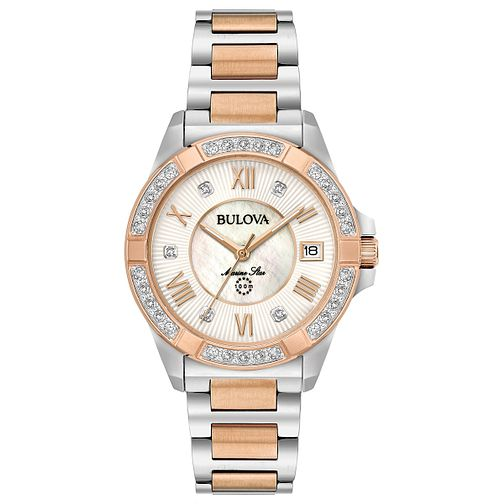 Bulova Ladies' Diamond Rose Gold and Steel Bracelet Watch - Product number 6182593
