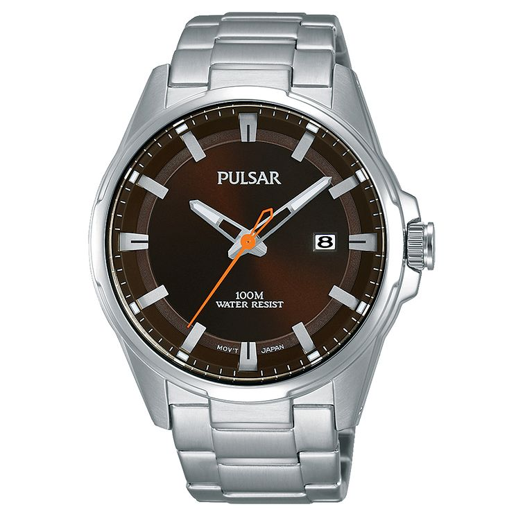 Pulsar Men's Brown Dial Stainless Steel Bracelet Watch - Product number 6182658