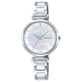 Pulsar Ladies' Stainless Steel and Ceramic Bracelet Watch - Product number 6183301