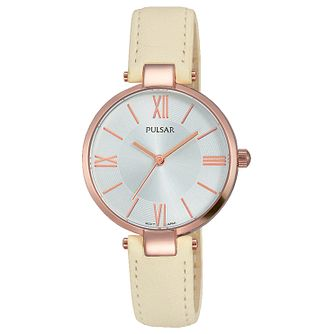 Pulsar Ladies' Rose Gold Plated Cream Leather Strap Watch - Product number 6183336