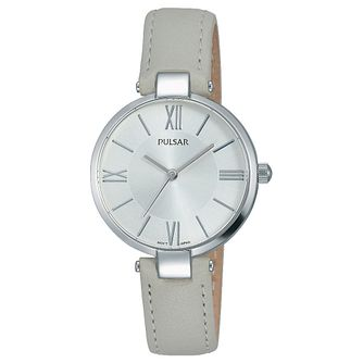 Pulsar Ladies' Stainless Steel Grey Leather Strap Watch - Product number 6183344