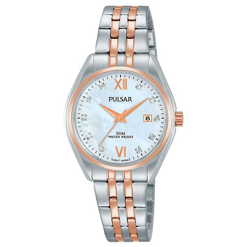 Pulsar Ladies' Stainless Steel and Rose Gold Bracelet Watch - Product number 6183360