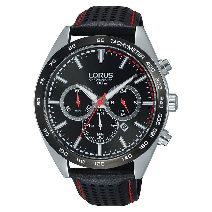 Lorus Men's Black Dial Chronograph Leather Strap Watch - Product number 6183395