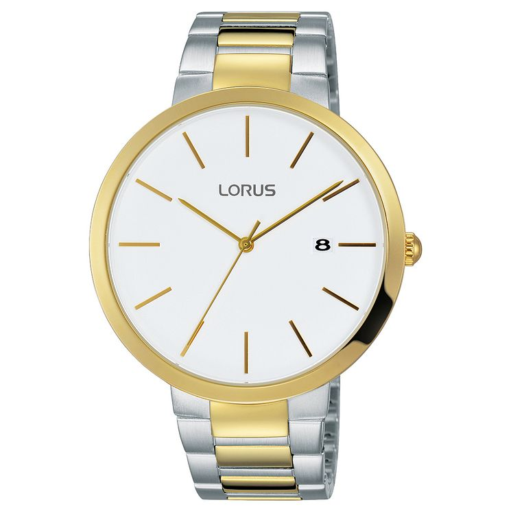 Lorus Men's Large Dial Light Gold and Steel Bracelet Watch - Product number 6183484