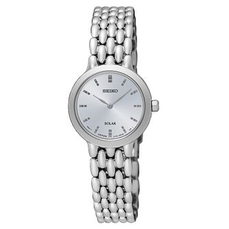 Seiko Ladies' Solar Silver Dial Steel Bracelet Watch - Product number 6183719