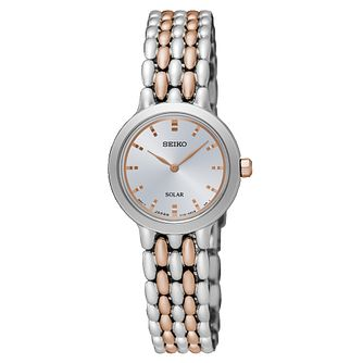 Seiko Ladies' Solar Silver Dial Two Tone Bracelet Watch - Product number 6183727
