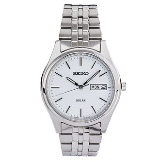 Seiko Men's Solar White Dial Stainless Steel Bracelet Watch - Product number 6187862