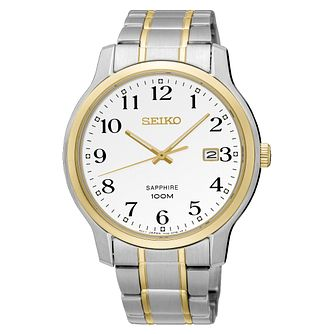 Seiko Men's White Dial Steel and Gold Bracelet Watch - Product number 6187889