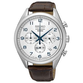 Seiko Men's Chronograph Steel Brown Leather Strap Watch - Product number 6187919