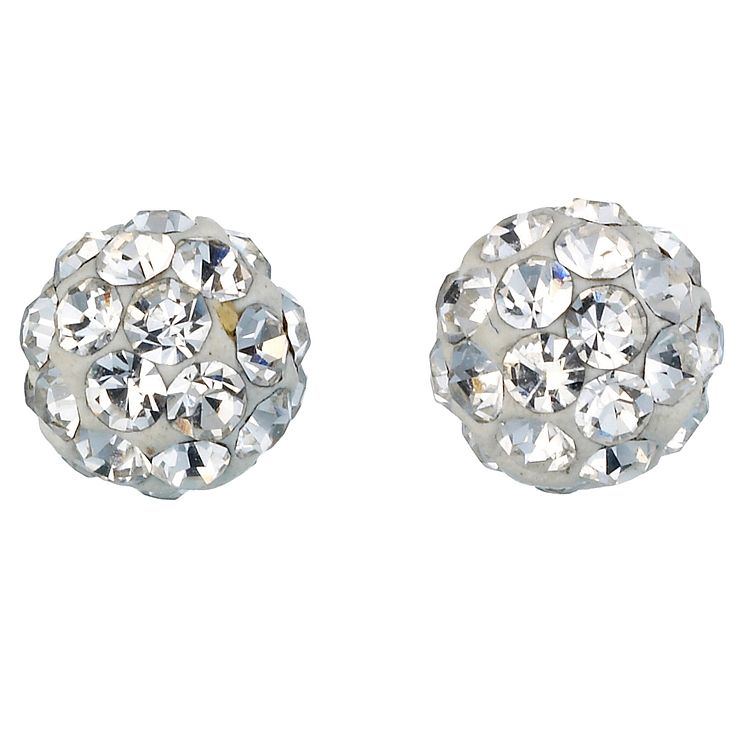 9ct White Gold Crystal Ball Stud Earrings 4mm - Product number 6188176