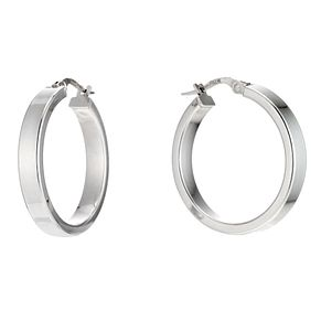 9ct white gold flat creole hoop earrings - Product number 6191878