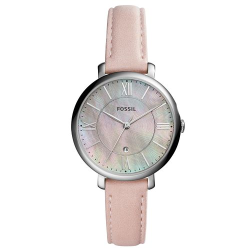 Fossil Ladies' Mother Of Pearl Dial Pink Leather Strap Watch - Product number 6193587