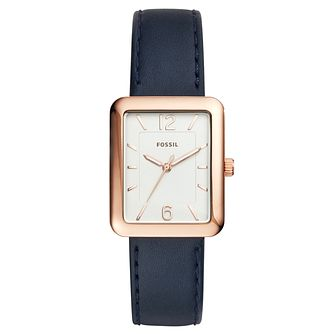 Fossil Ladies' Rose Gold-Plated Navy Leather Strap Watch - Product number 6193609