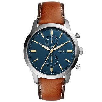 Fossil Men's Blue Dial Brown Leather Strap Watch - Product number 6193641