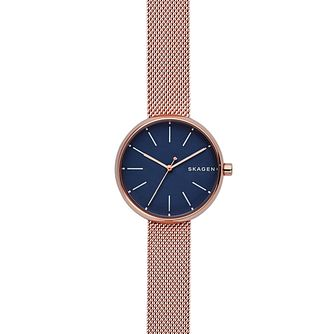 Skagen Ladies' Blue Dial Rose Gold-Plated Bracelet Watch - Product number 6193684