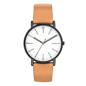 Skagen Men's White Dial Brown Leather Strap Watch - Product number 6193706