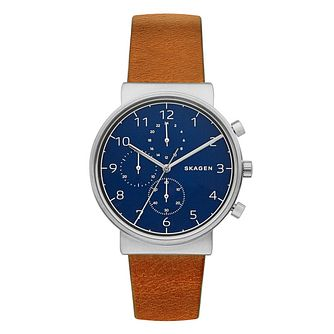 Skagen Men's Blue Chronograph Dial Brown Leather Strap Watch - Product number 6193714