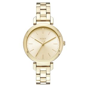 DKNY Ladies' Gold Tone Dial Gold-Plated Bracelet Watch - Product number 6193765