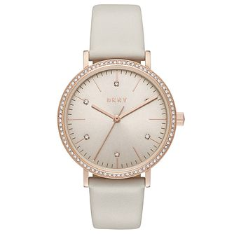 DKNY Ladies' Stone Set Grey Leather Strap Watch - Product number 6193897