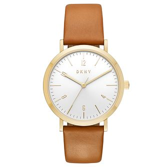 DKNY Ladies' White Dial Brown Leather Strap Watch - Product number 6193919